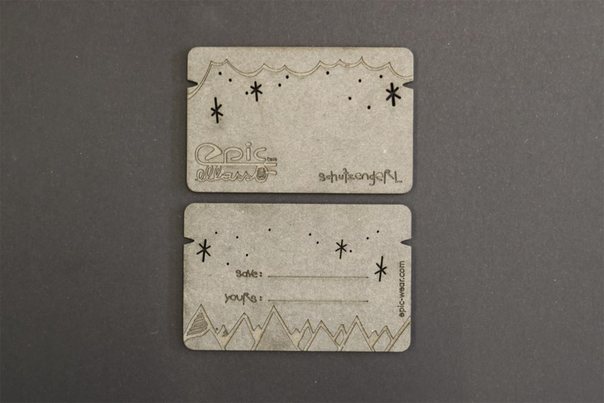 Kartonvisitenkarten mit Lasergravur