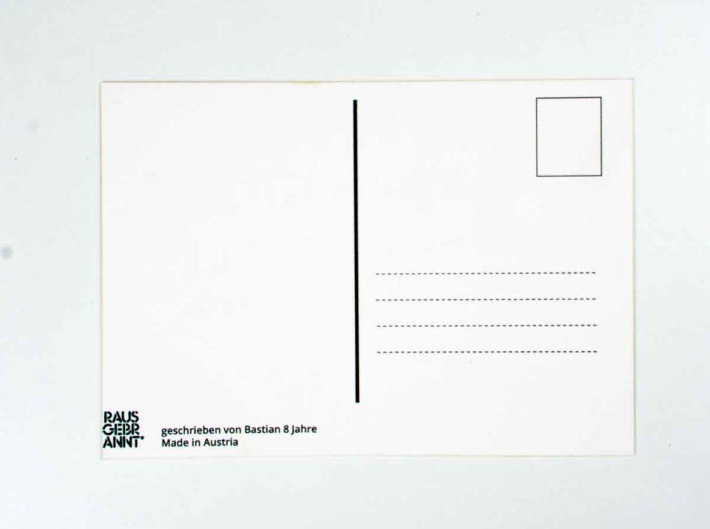 Postkarte mit Lasergravur - Rückseite