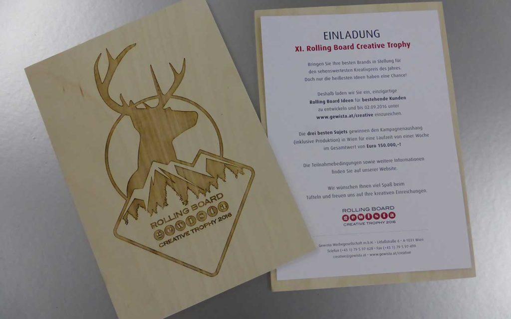 Holzgravur Einladung